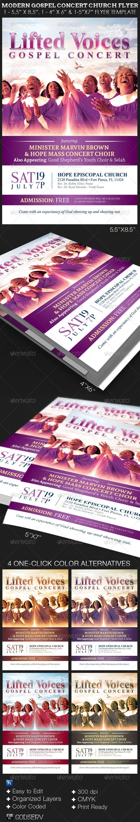 Modern Gospel Concert Church Flyer Template — Photoshop PSD #template #release • Available here → https://graphicriver.net/item/modern-gospel-concert-church-flyer-template-/7966624?ref=pxcr