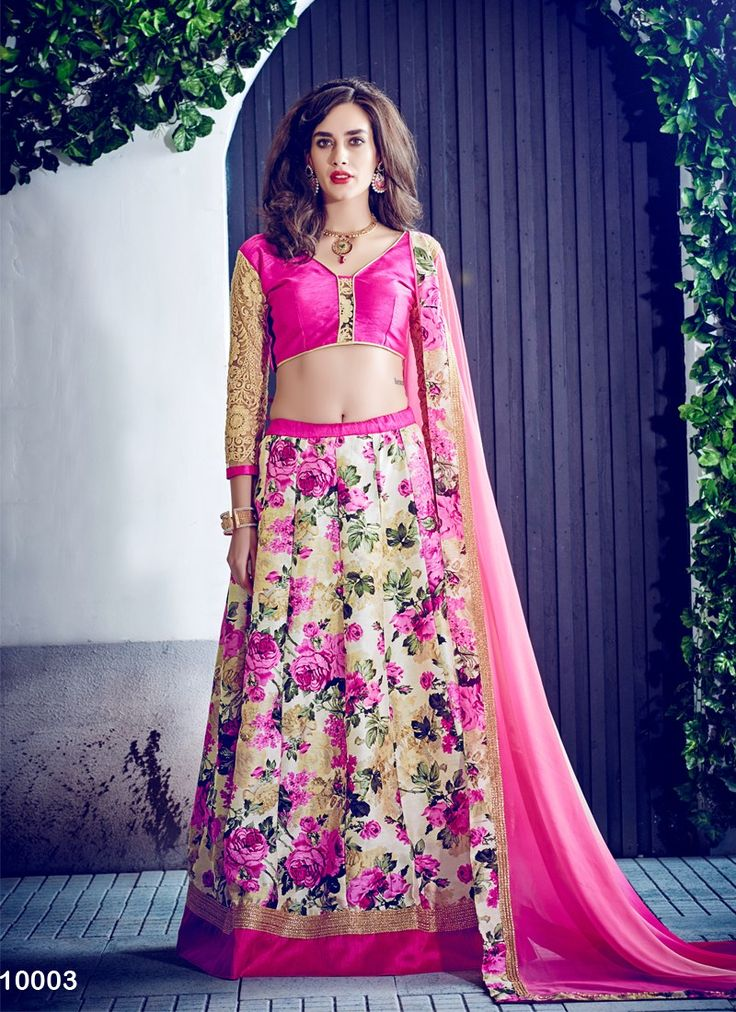 Go Floral with this cream & pink floral print lehenga choli! #Floral #Lehengas #Cream #Pink