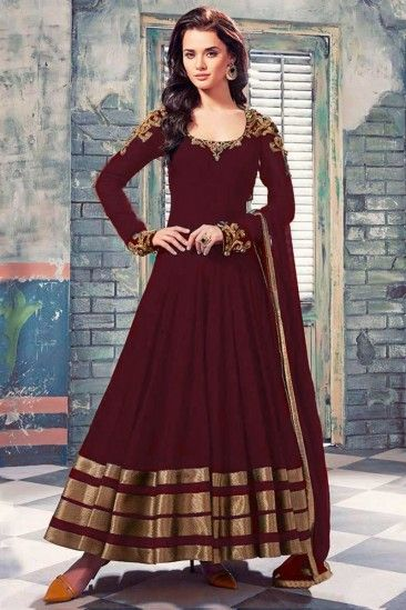 #Mother's #day #Dresses - Maroon georgette Anarkali Churidar Suit - 1707 B