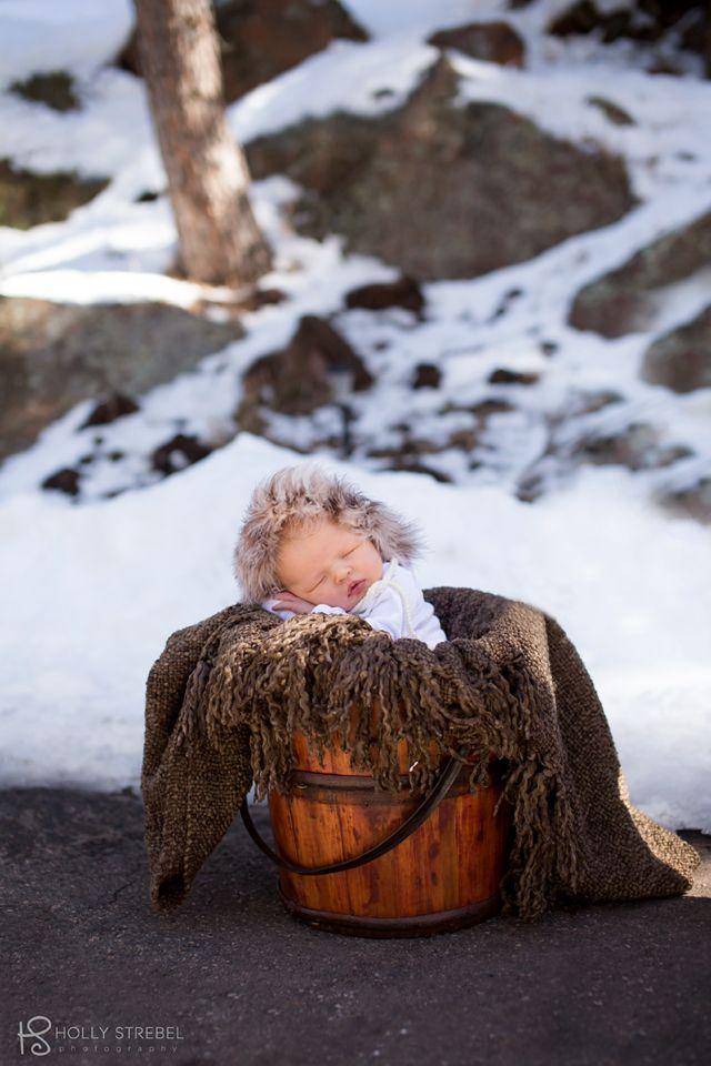 Outdoor winter newborn portrait.  www.hollystrebelphotography.com Newborn girl photography