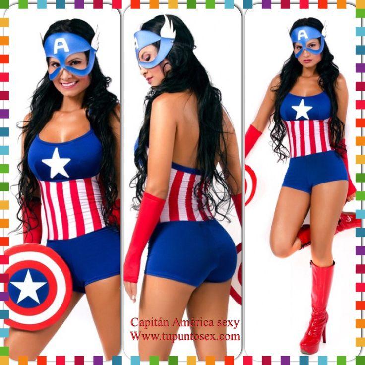 Disfraz para Halloween mujeres- capitán América  Www.tupuntosex.com Los disfraces sensuales para mujeres más novedosos y sexis.