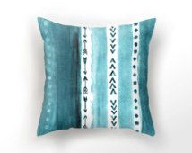 DECORATIVE THROW PILLOW, teal blue pillow case, watercolor throw pillow,  aquarelle minimalist pillow, sea blue cushion cover, arrow pillow