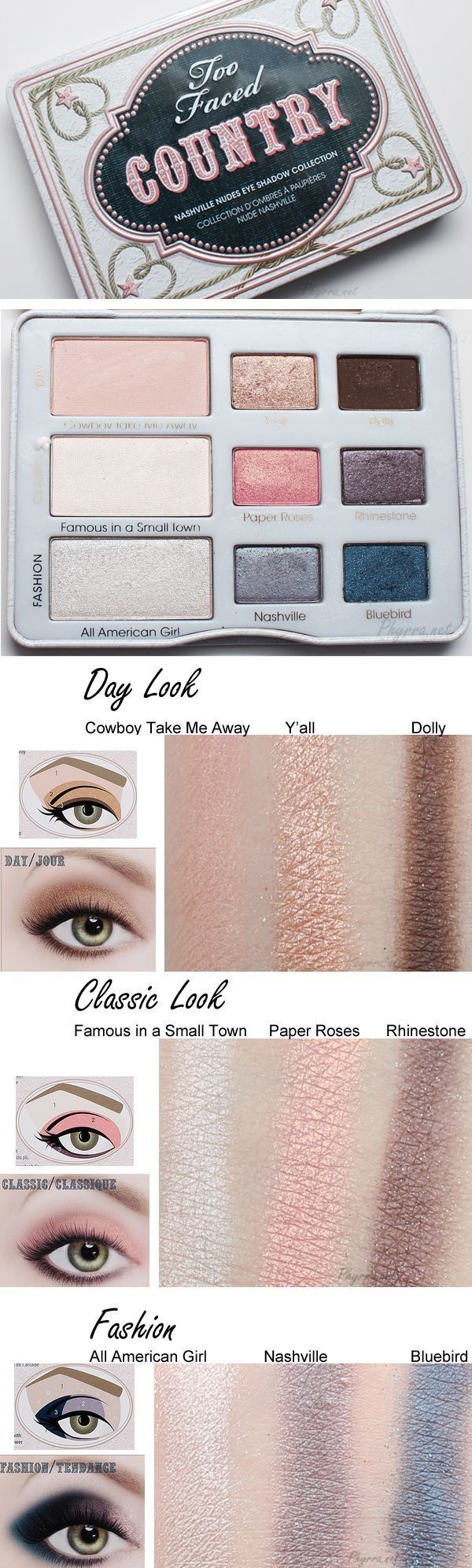Too Faced Country Nashville Nudes Eye Shadow Palette Collection. 3 Steps, 3 Looks, 3 Minutes.  $25.00