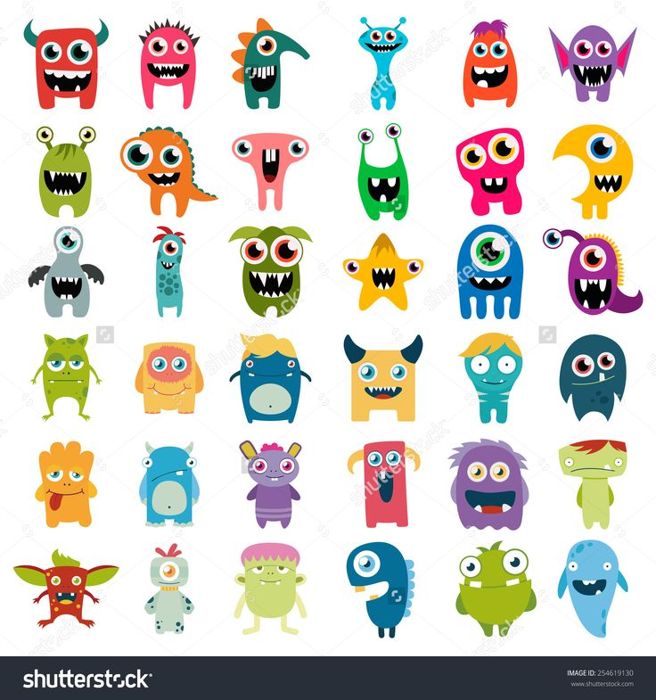 Big Vector Set Of Cartoon Cute Monsters - 254619130 : Shutterstock