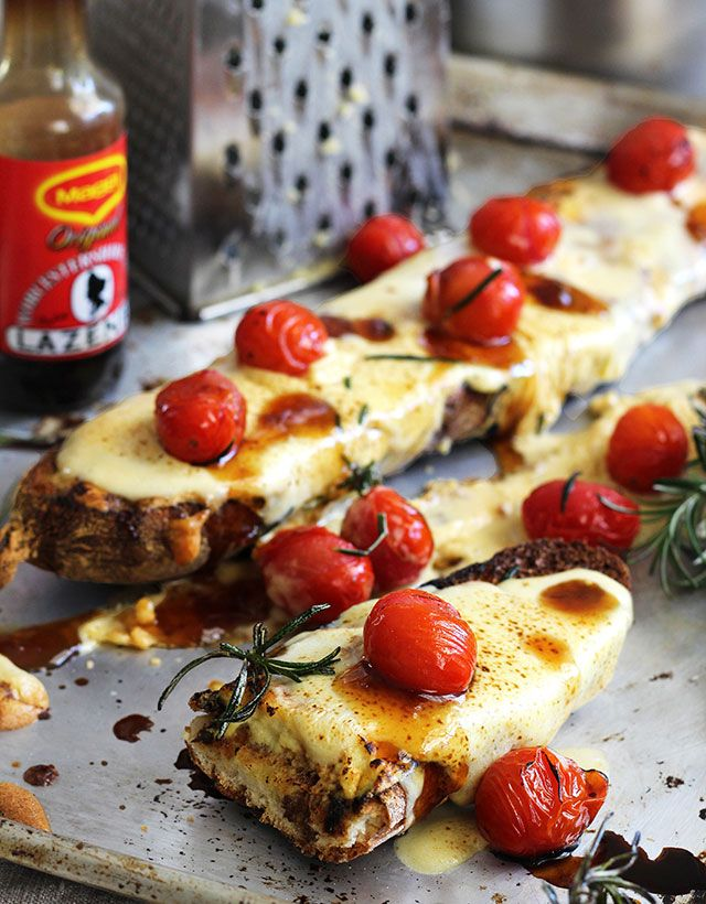 Souffléd Welsh Rarebit on baguette with rosemary-roasted tomato