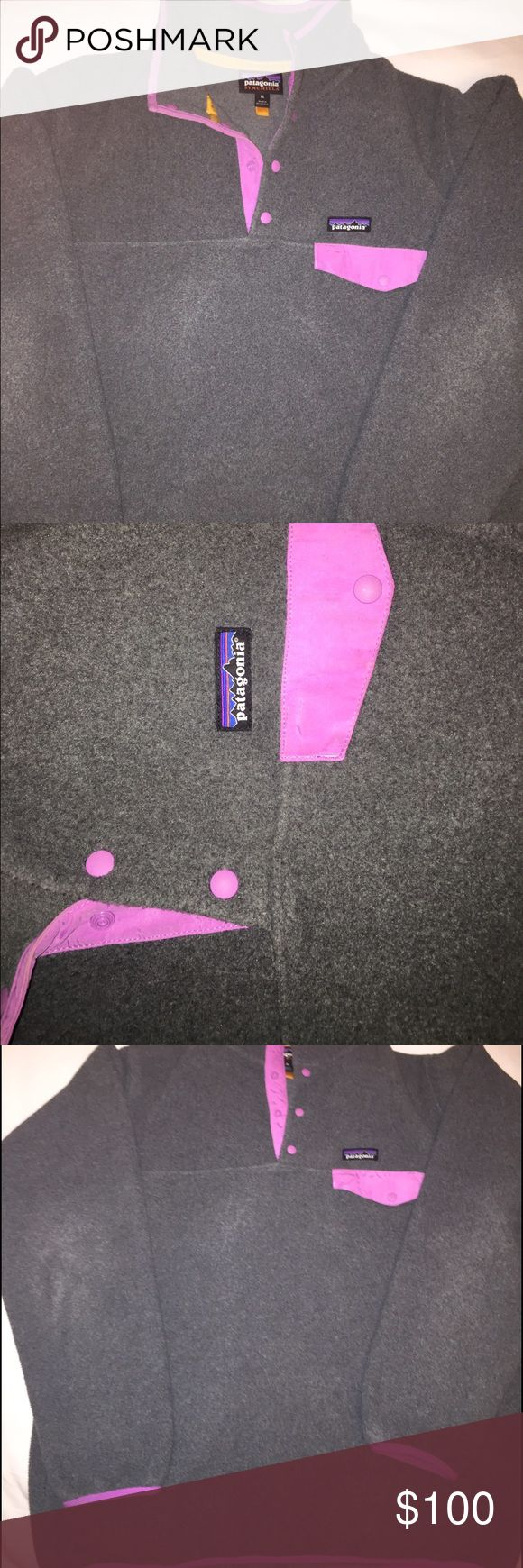 Grey Purple Pink Patagonia Fleece Jacket This Patagonia was purchased in North Carolina this year and has been worn only a few times since purchase. No wear, No tears, no stains or discoloration. I wear a Size M Shirt but purchased this jacket in XL so that it would fit loosely and be oversized. This is a unisex Jacket. I am willing to work with all reasonable offers! Trying to get it sold. Thanks for looking :) Patagonia Jackets & Coats