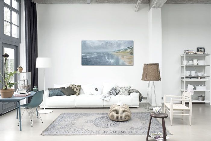 white grey beige / scandinavian minimalism / windows tall ceiling / living room / details decor
