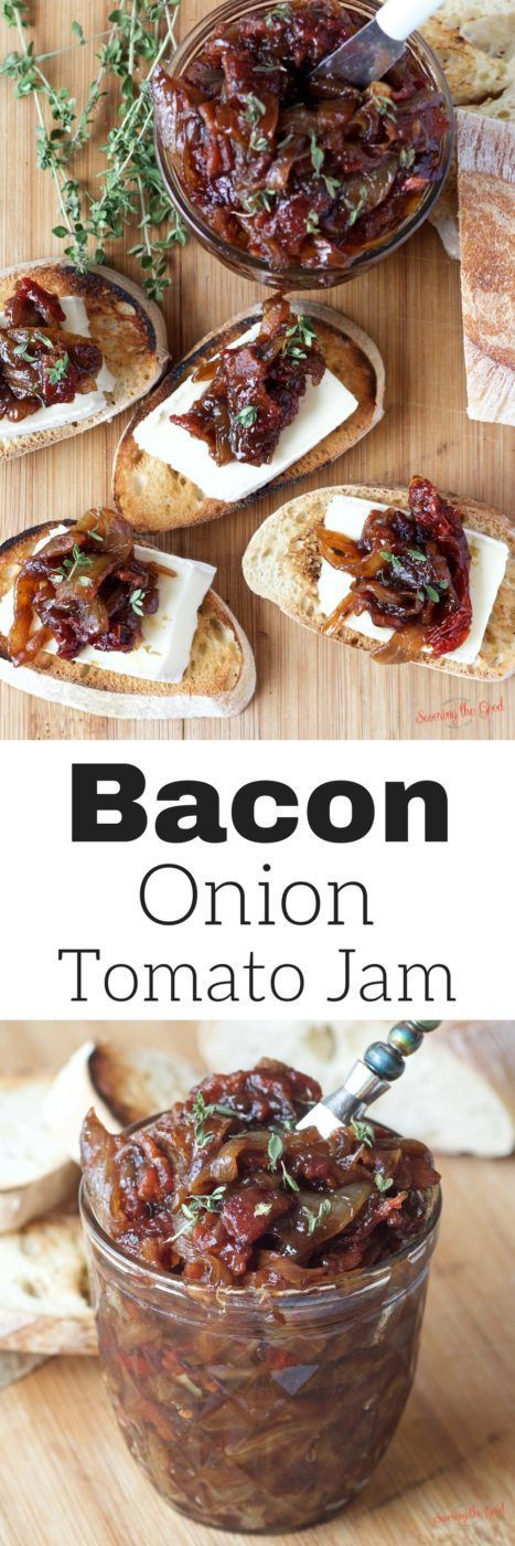 Bacon onion tomato jam is the perfect addition to any charcuterie board. This recipe is the perfect combination of sweet and savory. A hint of thyme balances out the trio of flavors. A staple for your refrigerator or a lovely gift to give as a hostess gif