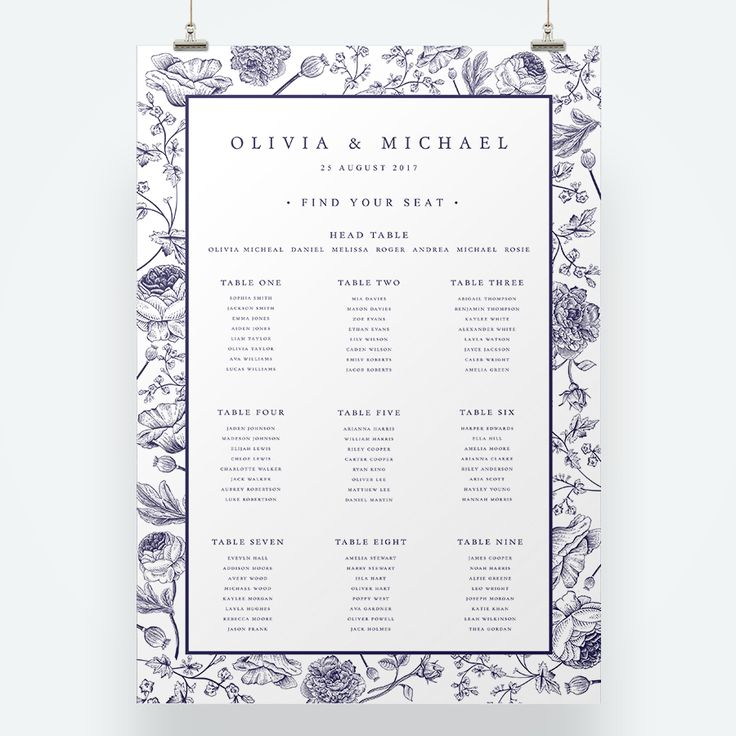 A bold wedding invitation suite with illustrative floral patterns inspired by the intricacy of Portuguese Azulejos tiles. Blue and White wedding ideas, navy and white wedding stationery, blue wedding stationery, bold floral wedding stationery, illustrative floral wedding stationery, table plan