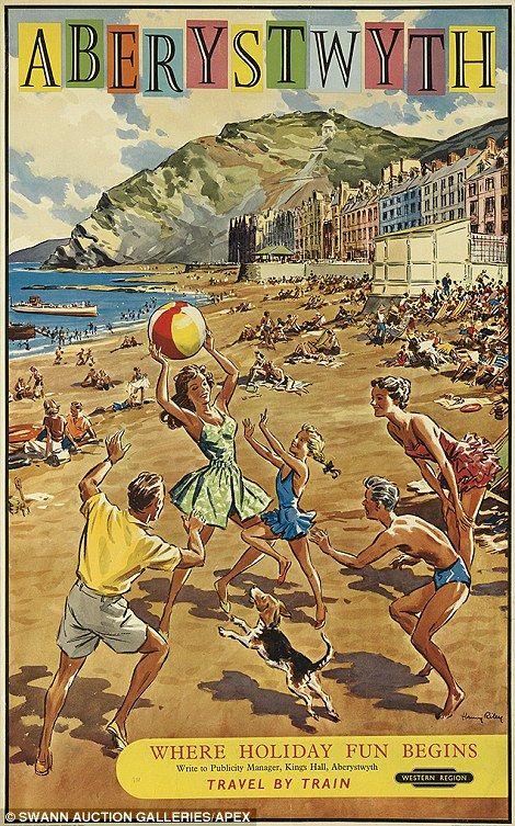 Vintage railway posters of UK seaside destinations - Aberystwyth