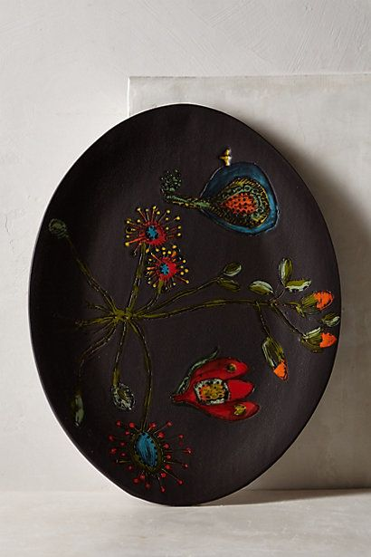 Inspiration for my next clay class. Love the black, love the accents, love the floral. Beautiful. Dandelion Knoll Platter #anthropologie
