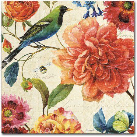 Trademark Fine Art Rainbow Garden II Cream Canvas Art by Lisa Audit, Size: 35 x 35, Multicolor