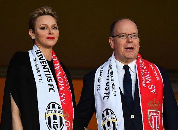 Prince Albert and Charlene watched Uefa semi final match