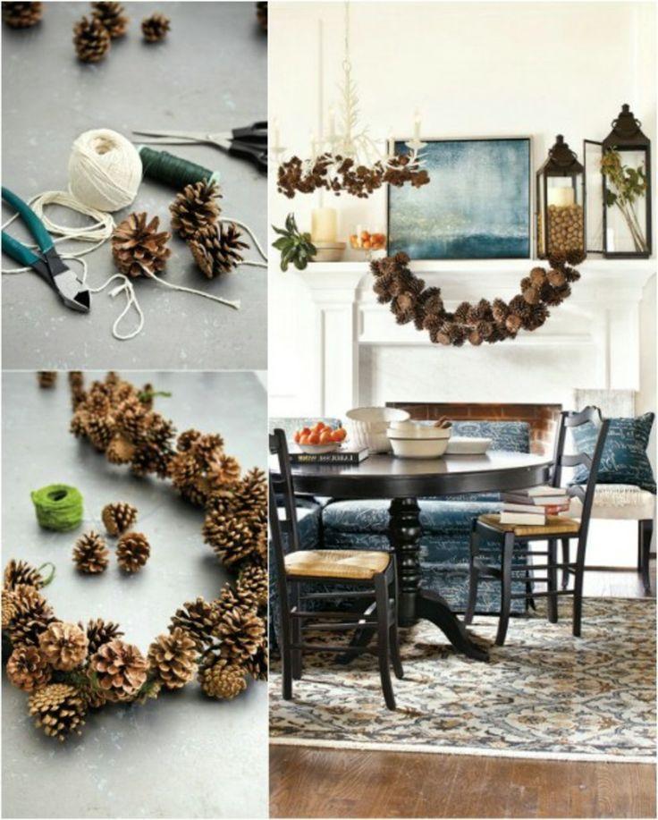 die besten 25 tannenzapfen girlande ideen auf pinterest weihnachten basteln mit rinde. Black Bedroom Furniture Sets. Home Design Ideas