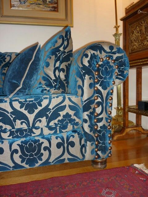 Bespoke sofa made for client by Master Upholster Eamon O Looney...Fabric from pt textiles.