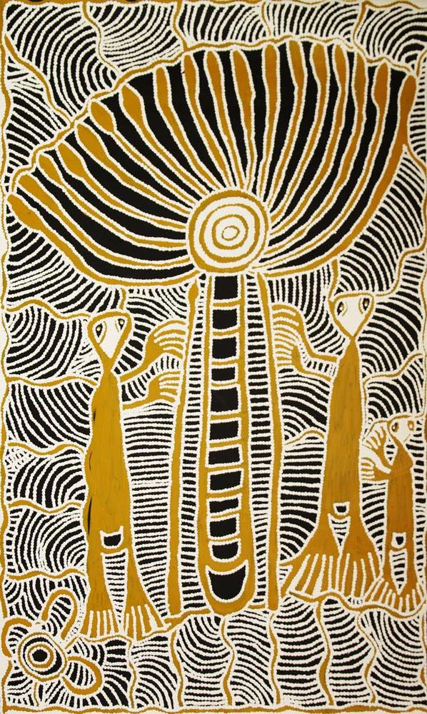 """ABORIGINAL ART PAINTING by RUBY DANIELS NUNGALA """"WINDMILL AND SPIRIT MEN"""" 150 x 90 cm. In this painting Ruby is painting one of her mother's themes - Windmill - first contact. This story pertains to the first time her people saw a windmill which they believed to be a """"monstor"""" and at which spears were thrown."""