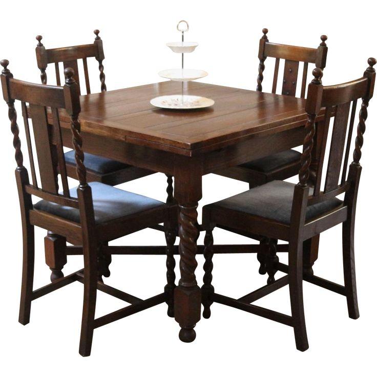 Antique English Draw Leaf Pub Dining Table And Chairs. Barley Twist, Dark  Oak.