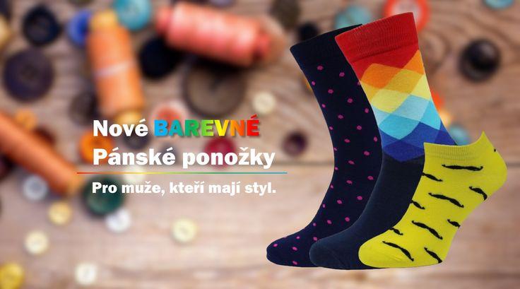 Nové barevné pánské ponožky