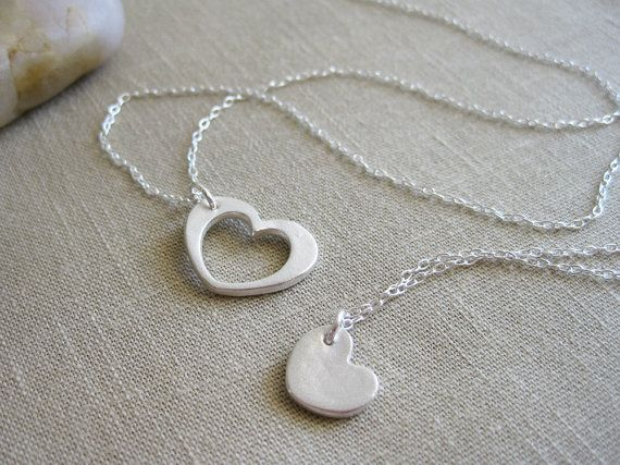 Heart Necklace Set Recycled Silver Sterling Silver Mother Daughter Best Friend Jewelry Sisters Mothers Day - Heart of My Heart