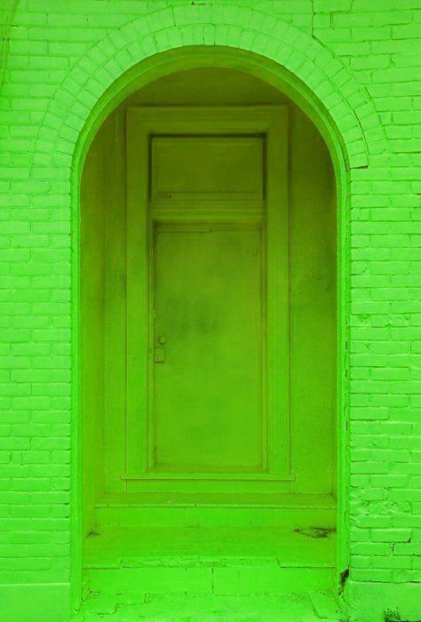 Neon doorway: Green Doors, Color Green, Neon Green, Neon Doorway, Colored Doorway, Lime Green, Neon Colors