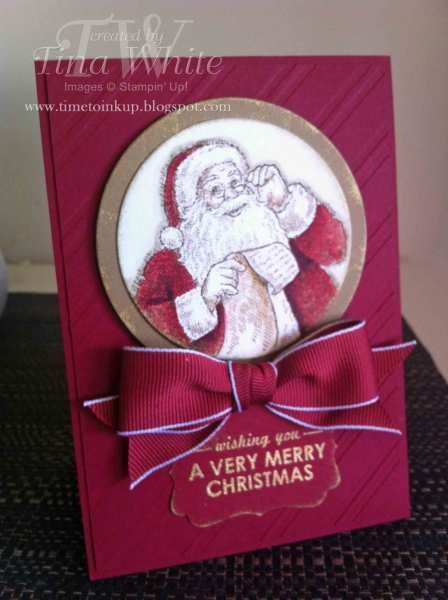 "Santa's List, Cherry Cobbler cs, ribbon & ink, Soft Suede cs, decorative label punch, 2-1/2"" circle punch, circle framelits, versamark, gold embossing powder"