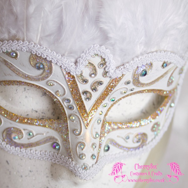 Bridal Mask 'White Swan' AB Gold, Venetian, Feather, Masquerade, Carnival, Snow Queen, Wedding, Rhinestone, Fetish, Victorian, Steampunk. £39.00, via Etsy.