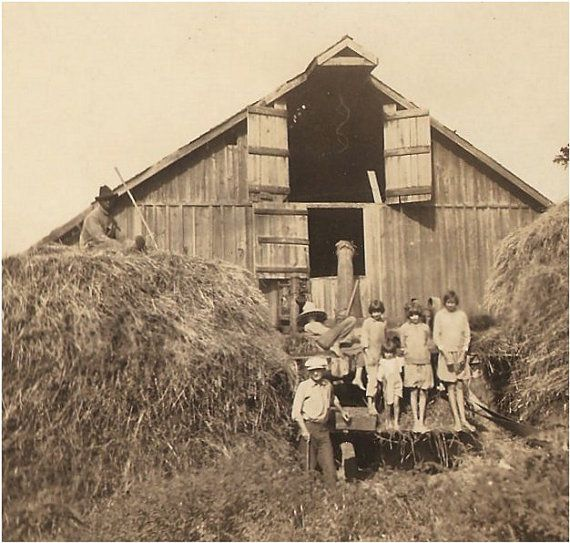 Pin By C M On H O M E In 2019: Kids Sitting By Hay Stacks At The Barn Helping Pops With