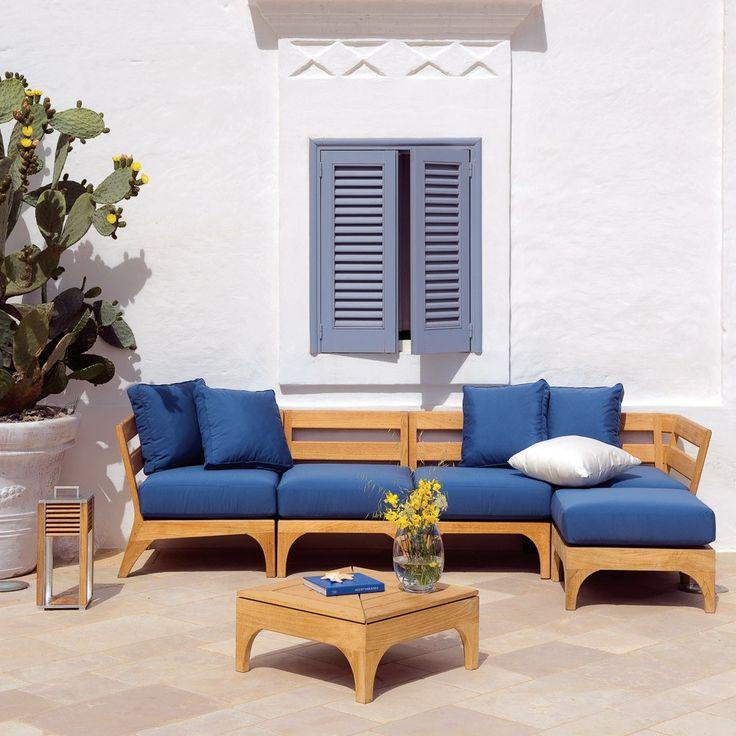 divano da giardino componibile in teak village collezione village by ethimo garden seating garden sofa - Furniture Village Garden Furniture