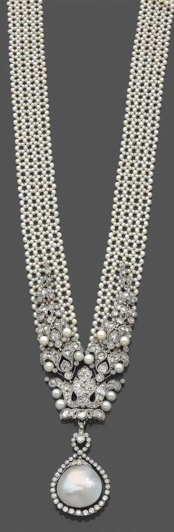 A Belle Epoque platinum, natural and cultured pearl bayadere sautoir, attributed to Cartier, circa 1910. Unsigned.