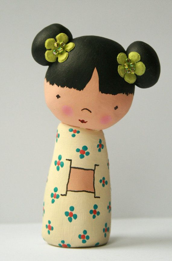 Polymer Clay Kokeshi Dolls tutorial by HelloClementine on Etsy