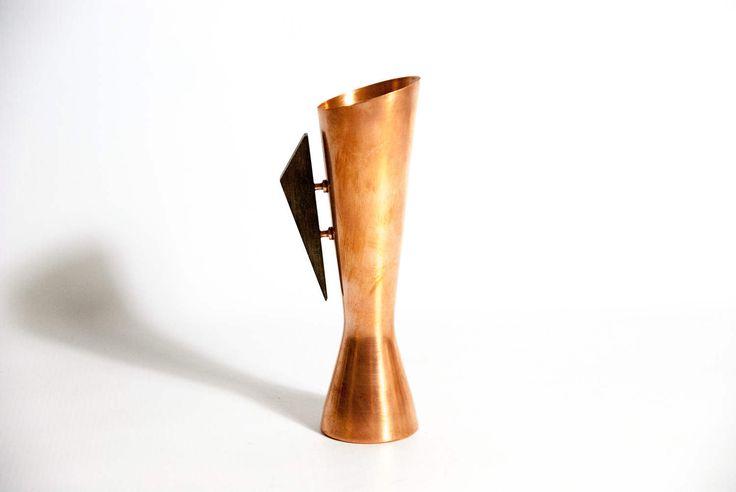 Vintage teak & copper vase / COPPER FLOWER VASE / copper pitcher / copper vase / scandinavian vase / minimal copper vase / wood teak handle by VintageEuropeDesign on Etsy