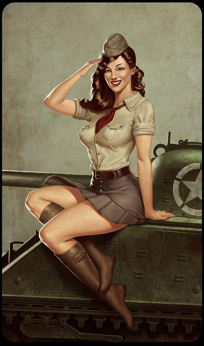 Digital vintage pin ups