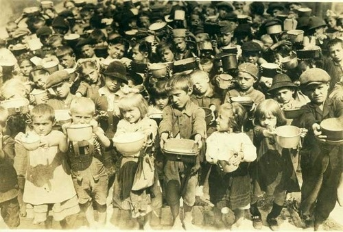 American Relief Administration Food Distribution, Poland. Circa 1919. On July 12, 1919, Herbert Hoover founded the American Relief Administration which fed 350 million people in 21 countries in the aftermath of the Wold War I.