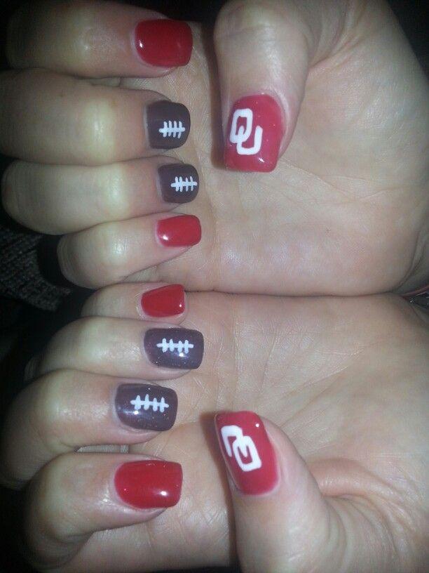 Oklahoma Sooners Football Nails :)