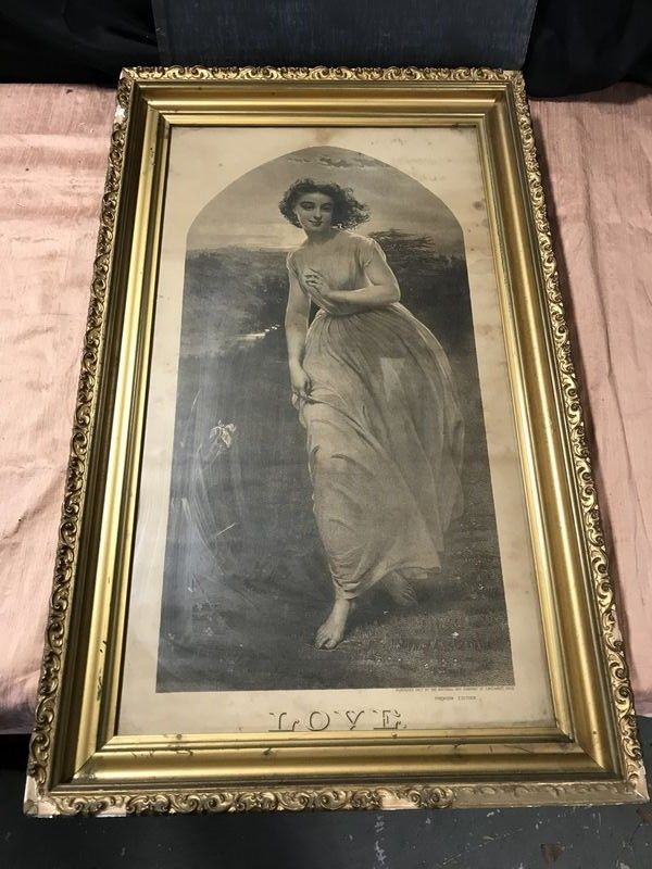 Early 20th Century Love Print And Vintage Coca Cola Diner Sign 18 X