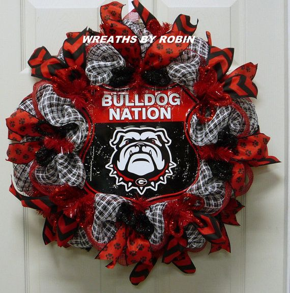 Georgia Sports Wreaths, Georgia College Wreaths, UGA, Bulldog Nation (2220) -- WreathsByRobin on Etsy