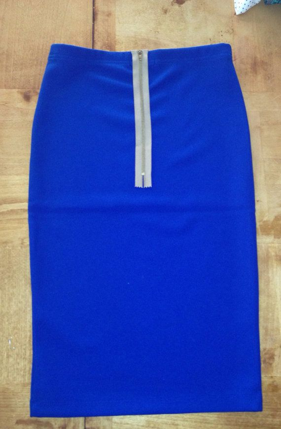 cobalt blue pencil skirt with faux zipper on etsy 20 00