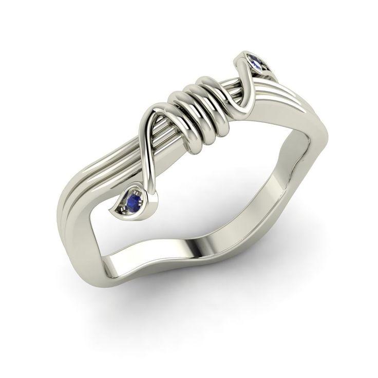 sapphire wedding anniversary invitations%0A Natural Blue Sapphire Unique Wedding Band   Anniversary Ring in   k White  Gold  Diamondere