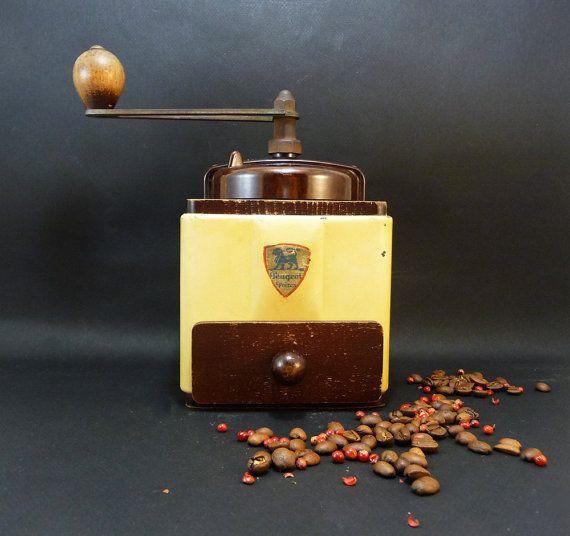 Moulin à Café Peugeot Années 50, Métal crème French Vintage Machine à Café Accessoire Décoration de Cuisine