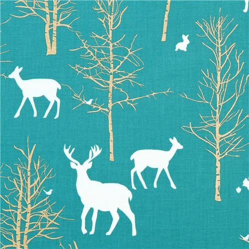Timber Valley Teal deer forest fabric by Michael Miller 2