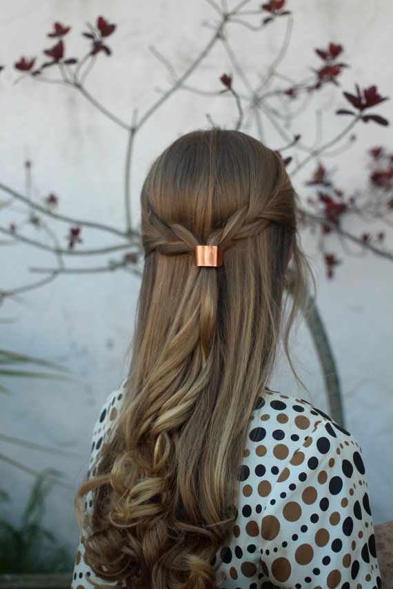 Metal hair cuff - size small copper ponytail holder rustic hair accessories silver pony tail tie boho chic shiny brass hair slide for her by Kapelika