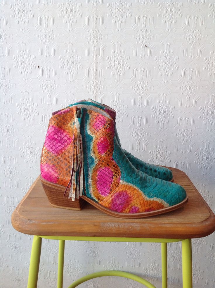Rainbow python boots make me really really happy - make your tootsies smile this winter.. All boots designed in Melbourne and ethically handmade by our extended family of artisans.