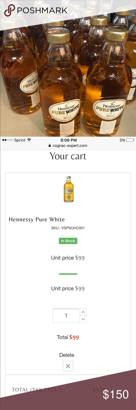 Pure white Hennessy New in box. Can not buy in US pure white Hennessy. Online sells for more Other