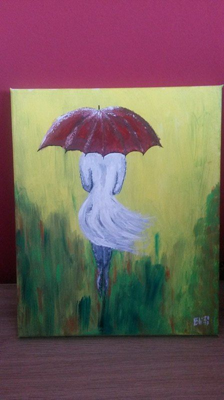 First try of woman with umbrella