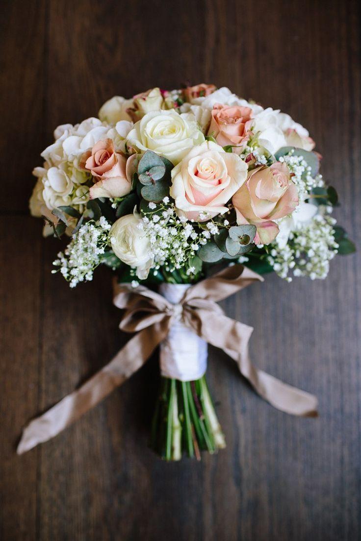 Rose Gypsophila White Blush Bouquet Ribbon Bow Flowers Bride Bridal Chic Hollywood Glamour Wedding www.kategrayphoto...