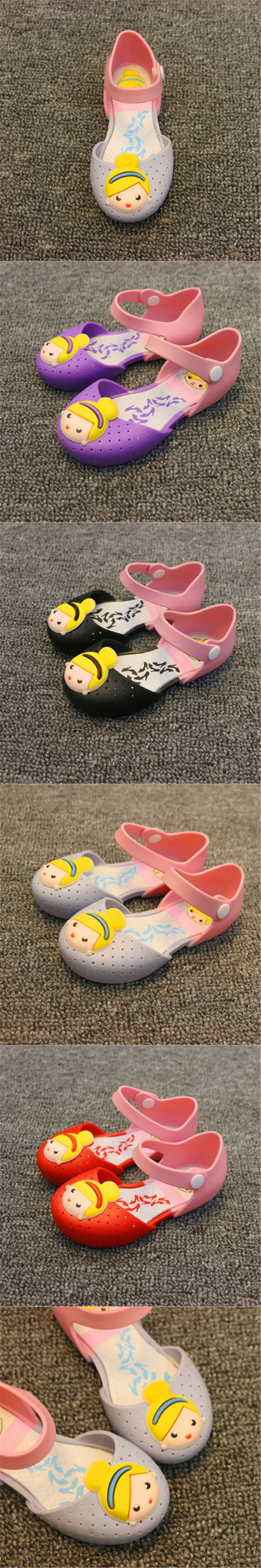 2017 summer cute girl sandals jelly shoes princess print shoes waterproof non-slip breathable children's shoes Fight color