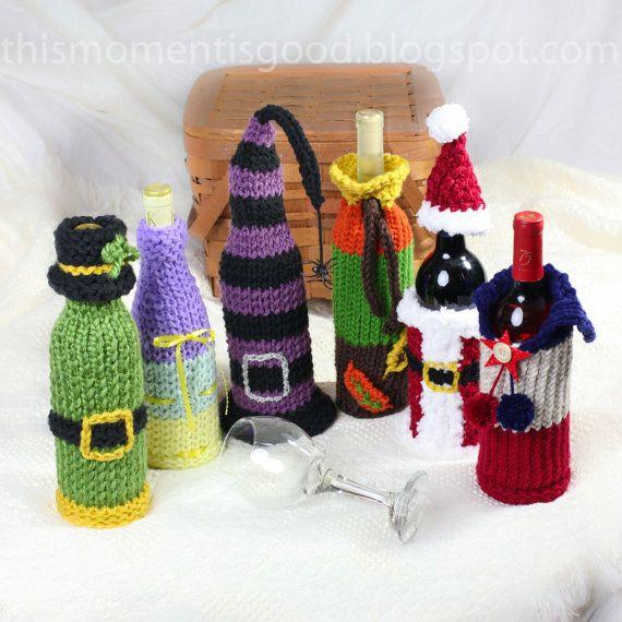 ¡Cubiertas de botellas de vino, patrón de telar de telar! Seis patrones únicos de tapa de botella de vino de vacaciones. ¡Gran idea de regalo! PATRÓN SOLO