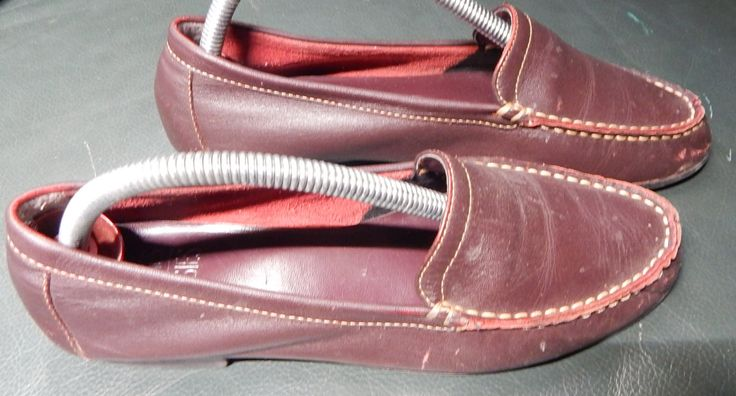 Comfortable real leather brown DOCK SHOES-LOAFERS with rubber soles, size 7 by MANITOUARTS on Etsy