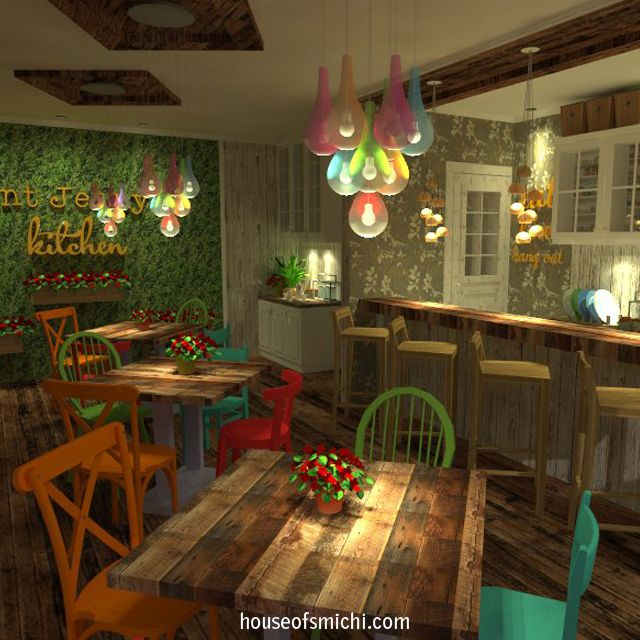 A Country Chic small restaurant in colorful and cheerful ambiance inspired by the Martha Stewart style. Originally made by House of Smichi.