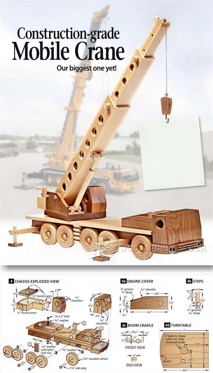 Wooden Mibile Crane - Children's Wooden Toy Plans and Projects | http://WoodArchivist.com